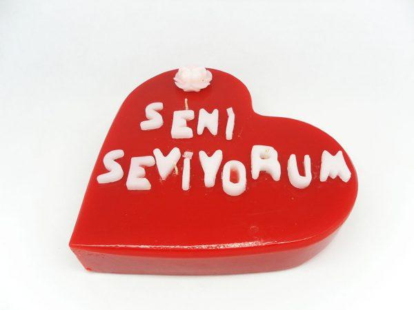 20 cm Seni Seviyorum Kalp Mum