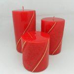 Kırmızı Altın Şeritli Silindir Mumlar
