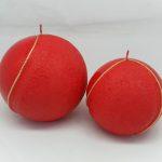 Kırmızı Altın Şeritli Top Mumlar