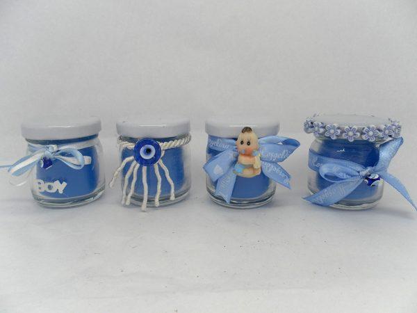 Mavi Mini Kavanoz Mumlar