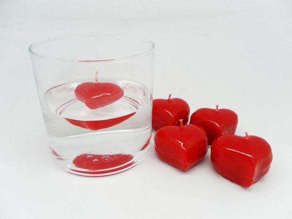 Yüzen Mini Kalp Mumlar