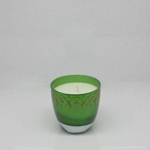Altın Varak İşlemeli Kokulu Bardak Mum Yeşil